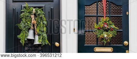 Set Of Christmas Wreath On Entrance Vintage Doors Outdoor. Two Vintage Front Doors Decorated By Chri