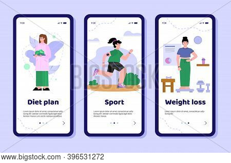 Mobile App Interface On Phone Screen With Concept Of Loss, Control Weight. Doctor Nutritionist Plan
