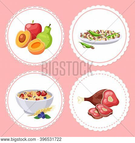 Food Collection Isolated In Circles, Healthy Meal With Vitamins And Nutrition, Diet Food, Fresh Frui