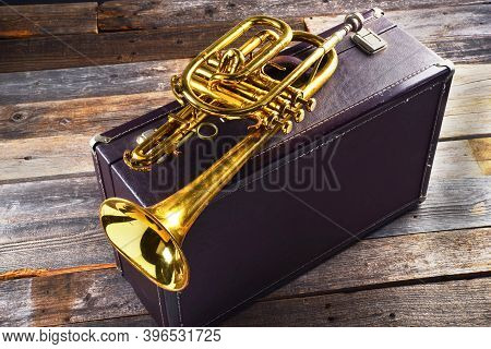 Old Brass Trumpet With Traveling Leather Case.