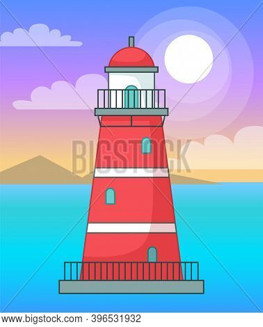 Lighthouse In Sea Or Ocean, Navigation Building For Ships, Cartoon Vector Red Lighthouse, Beacon S T