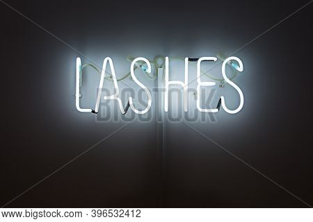 Shining Lashes White Neon Label. Advertising For Beauty Salon