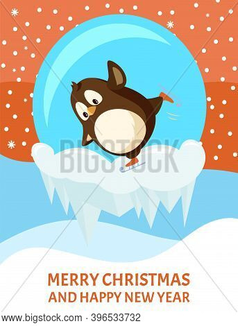 Skating Penguin In Snow-ball With Icicles. Funny Winter Activity With Bird In Snow Ball Vector. Gree