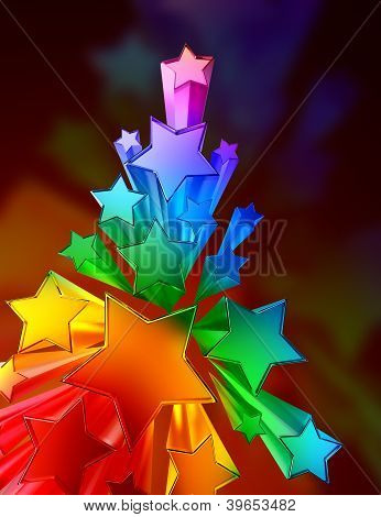 moving colored metallic stars on brown background