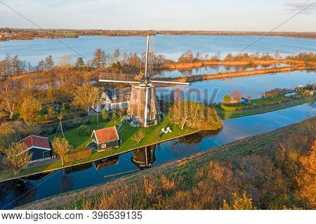 Aerial from the Poldermolen in Nederhorst den Berg in the Netherlands