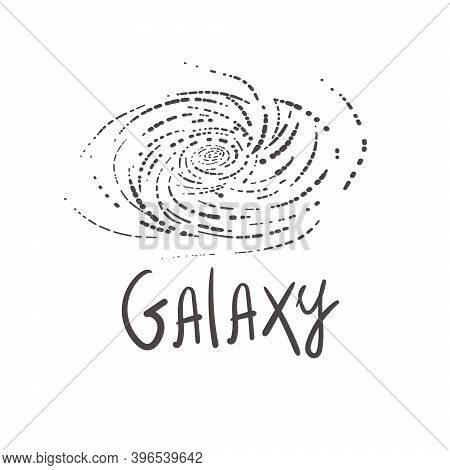 Doodle Vector Galaxy With Nebula, Constellations And Stars. Galaxy Milky Way Icons Space Background