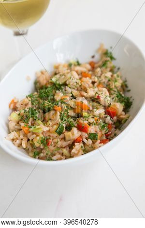 Bowl Of Prepared Chinese Fried Rice With Chicken