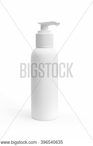 Cosmetic Plastic Bottle Mockup With Pump Isolated On White Background - 3d Render