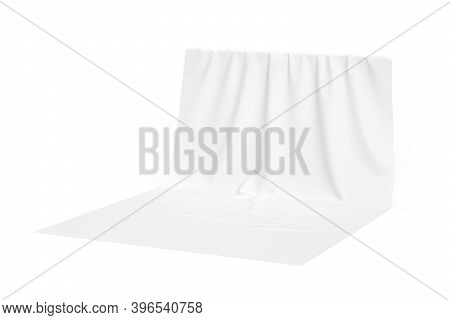 Fabric Background Mockup Isolated On White Background - 3d Render