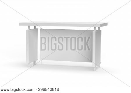 Bus Stop Mockup Isolated On White Background - 3d Render