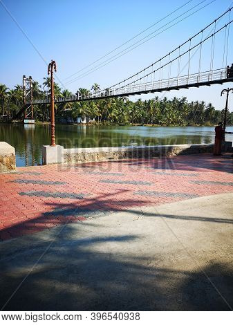 Biyyam Lake Hanging Bridge Across The Backwater Lake In Ponnani,malappuram,kerala,india