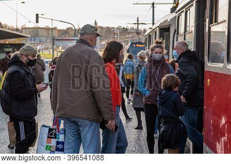 11-23-2020. Prague, Czech Republic. People Walking And Talking Outside During Coronavirus (covid-19)