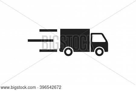 Delivery Car Icon In Flat Style On White Background. Vector Isolated Web