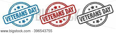 Veterans Day Stamp. Veterans Day Round Isolated Sign. Veterans Day Label Set
