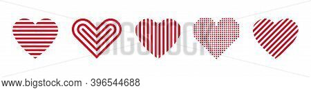 Red Heart Linear Icons. Vector Isolated Set Of Line Heart Set. Love Symbol Elements. Stock Vector.