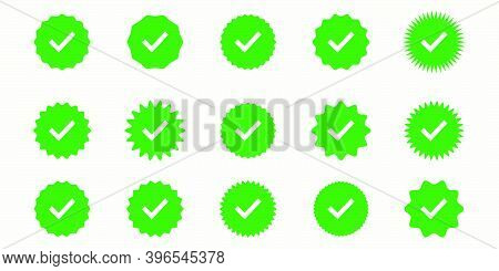 Button Icons For: Accepted, Approved, Yes, Right, Green, Correct. Icon Set In Different Styles In Gr