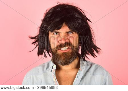 Angry Man In Wig. Emotions. Portrait Of Angry Man. Angry. Man In Wig. Isolated. Advertising