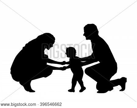 Silhouette Of Parents With Little Son First Steps. Illustration Symbol Icon