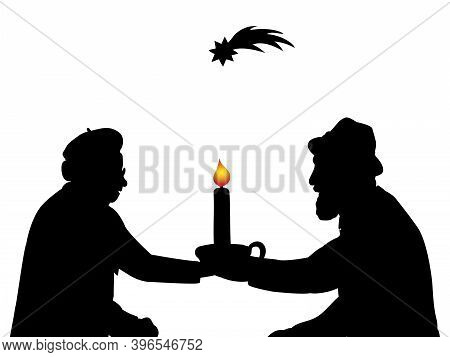 Silhouettes Grandparents With Christmas Candle. Christmas Star. Illustration Symbol Icon
