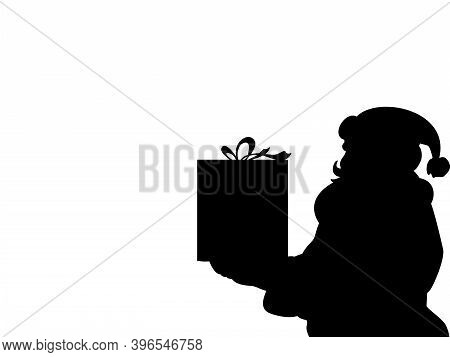 Silhouette Santa Claus Christmas Holiday Present Closeup. Illustration Symbol Icon