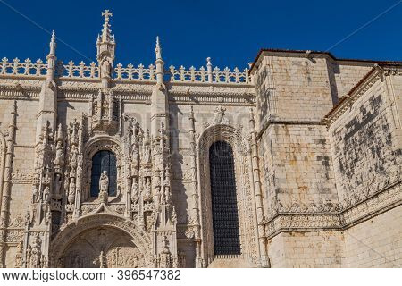 Detail of the magnificent carvings on the Monastery of Jeronimos in Belem, Lisbon, Portugal