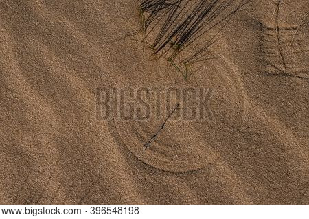 Circles On The Sand Beach Flat Lay Photo