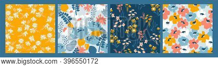 Set Of Floral Seamless Patterns. Vector Design For Paper, Cover, Fabric, Interior Decor And Other Us