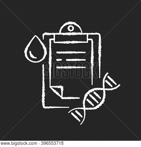 Dna Test Chalk White Icon On Black Background. Genetic Determination. Clipboard With Medical Researc