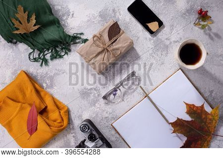 Autumn Flatlay Of Clothes In Warm Yellow And Gray-white Shades Womens Fashion Clothes And Accessorie