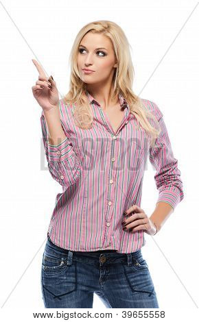 Sexy Blonde Woman Pointing At Copyspace