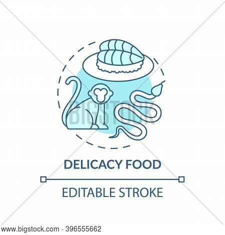 Delicacy Food Turquoise Concept Icon. Exotic Animal Abuse. Unethical Eating. Extinction Danger. Wild