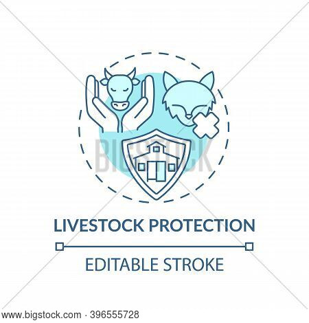 Livestock Protection Turquoise Concept Icon. Pets Abuse. Domesticated Animal Welfare. Ranch Mammals