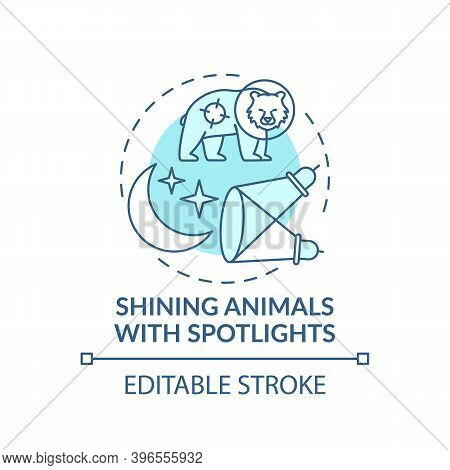Shining Animals With Spotlights Turquoise Concept Icon. Harm Wildlife. Animal Welfare. Nature Conser