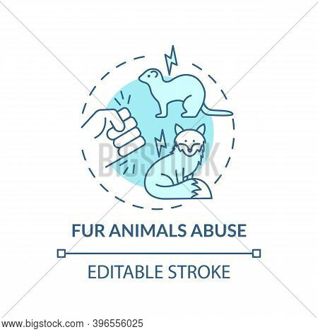 Fur Animals Abuse Turquoise Concept Icon. Harm To Fox. Mink Coat. Animal Abuse And Cruelty. Fur Fact