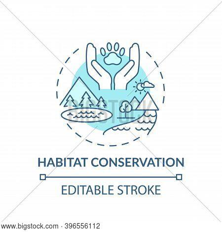 Habitat Conservation Turquoise Concept Icon. Ecosystem Preservation. Prevent Extinction. Wildlife Co