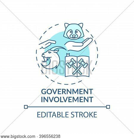 Government Involvement Turquoise Concept Icon. Animal Welfare. Legal Act. Animal Abuse And Wildlife