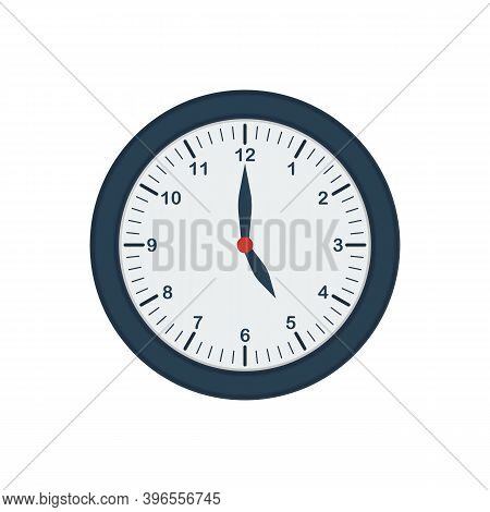 Blue Wall Clock Icon In Flat Style. Five O'clock. Office Clock.