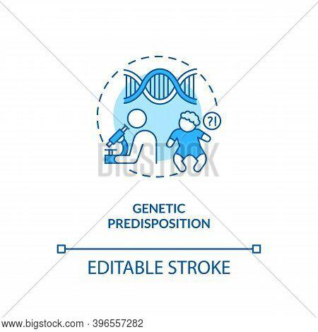 Genetic Predisposition Concept Icon. Chronic Fatigue Risk Inheriting Idea Thin Line Illustration. Ph