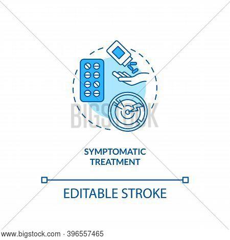 Symptomatic Treatment Concept Icon. Cfs Cure Idea Thin Line Illustration. Relieving Medical Conditio