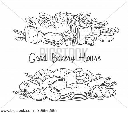 Breads Baked Products Banner With Lettering, Vector Hand Drawn Outline Monochrome Ink Illustration F