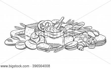 Breads Baked Products Outline Banner, Vector Hand Drawn Monochrome Ink Illustration For Bakery. Loaf