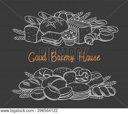 Breads Baked Products Black Chalkboard Banner, Vector Hand Drawn Illustration White On Black For Bak
