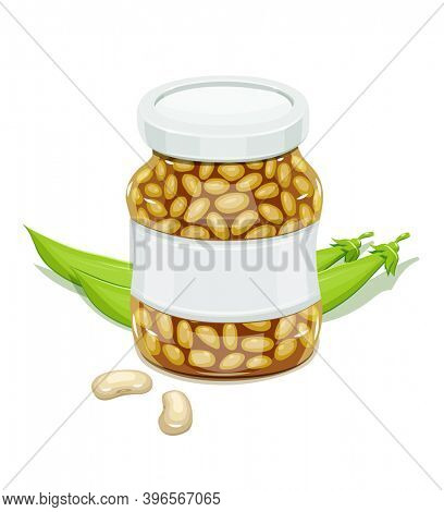 Glass jar with Bean and pods. Haricot Natural food for safekeeping. Isolated white background. 3D illustration.