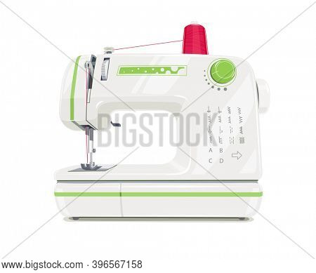 Modern sewing machine with red spool thread. Equipment for sew vogue clothes. Isolated white background. 3D illustration.