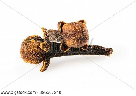Cloves . Two Dried Cloves, Macro Close-up Isolated On White Background, With A Light Shadow.