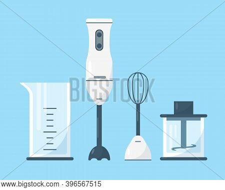 Submersible Blender With Accessories. Different Parts Of Hand Blender On Blue Background. Vector Ill