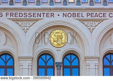 Oslo, Norway - October 30, 2016: Alfred Nobel Piece Center Gold Medal At Building In Oslo, Norway.