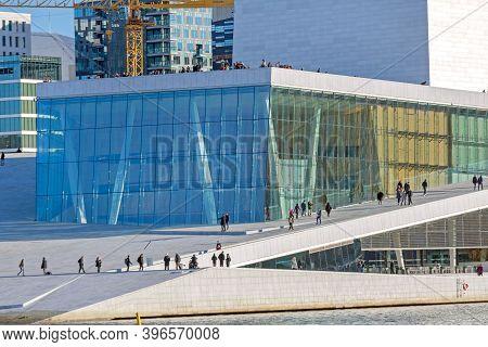 Oslo, Norway - October 29, 2016: People Walking At Modern Opera Building In Oslo, Norway.
