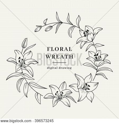 Lily Flower Wreath, Floral Wreath, Lily Flowers Circle Monogram, Wedding Frame. Vector Illustration