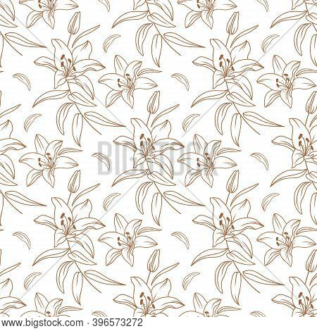 Lily Pattern, Floral Pattern Modern, Elegant Golden Lilies Drawn By A Thin Line. Vector Flowers Seam
